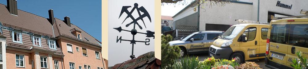 Ziegeldach, Element für den Dachgiebel, Hummel Fuhrpark am Firmengelände.